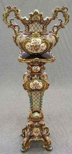 Majolica Jardiniere on Stand, 19th c. - by W. Schiller & Sons, Bohemia-Podmokly