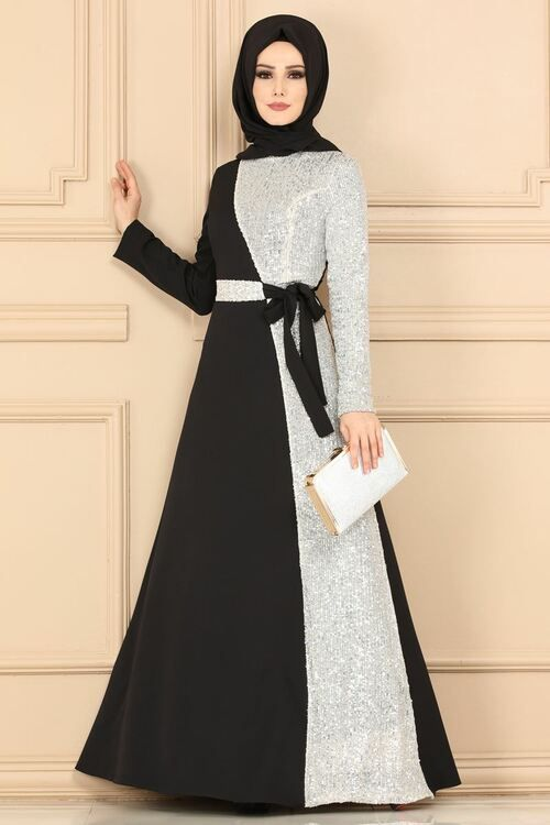 Modaselvim Evening Dresses Evening Wear 8611d170 Black Ecru Boncuklu Elbiseler Elbise Modelleri Batik Elbise