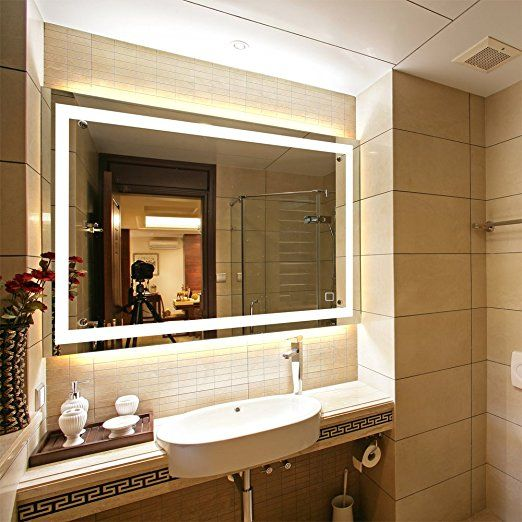 Dimmable Led Backlit Mirror Anti Fog Illuminated Vanity Mirror Bathroom Mirror With Touch Button And Defogge Led Mirror Bathroom Backlit Mirror Bathroom Mirror