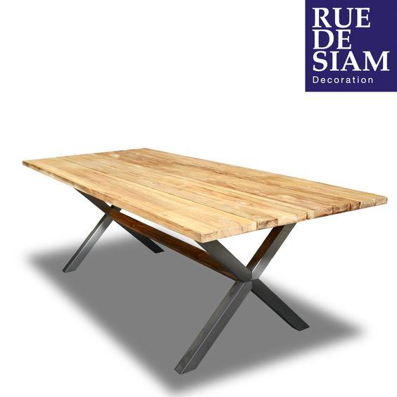Tr s belle table de jardin 240cm plateau en teck recycl for Table de jardin en acier