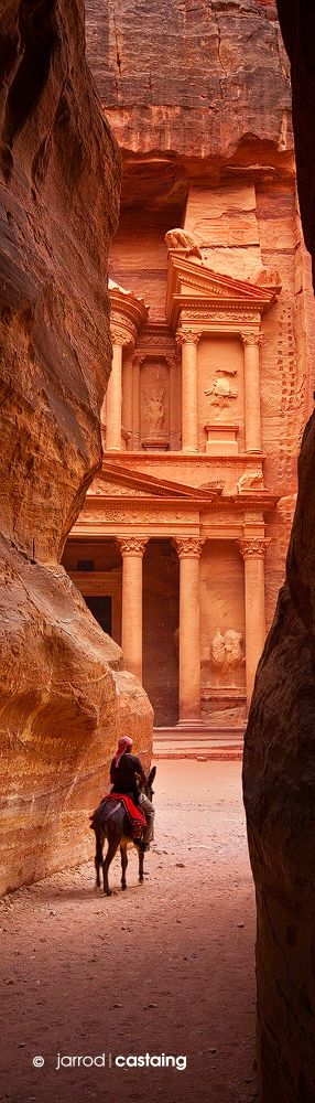 Petra, meaning stone in Aramaic, a Jordanian city, famous for its rock cut architecture and water conduit system.  Established possibly as early as 312 BC.  Discovered by Swiss explorer in 1812.