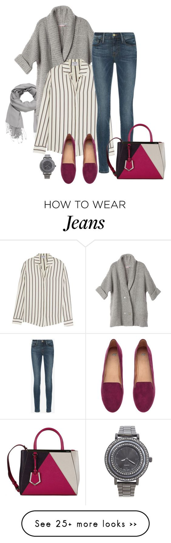 """Skinny Jeans & Loafers"" by eva-kouliaridou on Polyvore featuring maurices, Frame Denim, H&M, Fendi and Lane Bryant:"