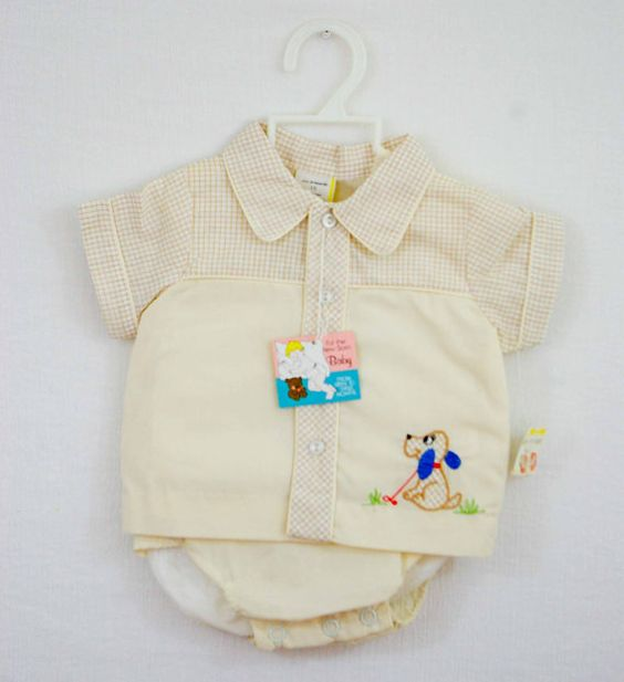 Vintage baby boy outfit with embroidery, 1970's.