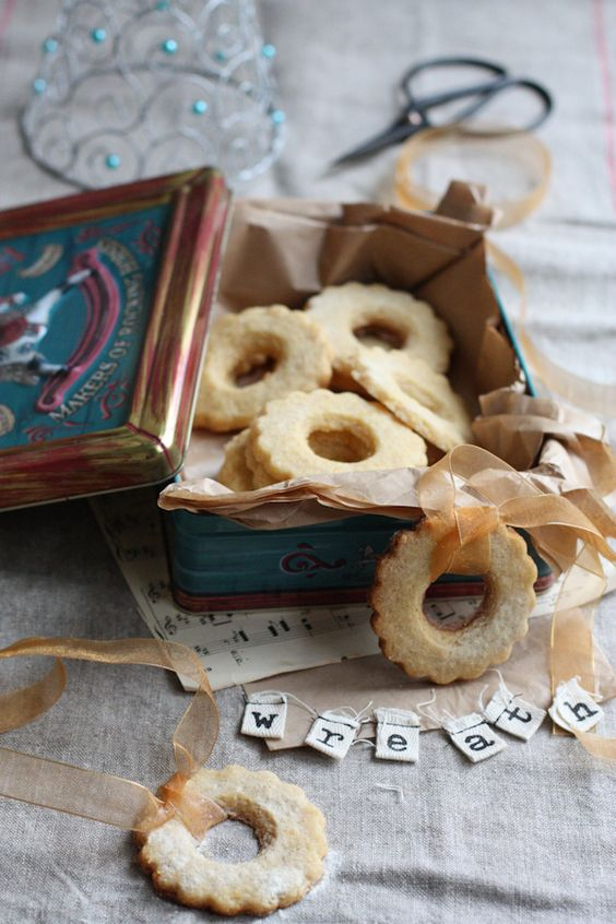 A great entertaining snack or hostess gift: Lemon And Almond Cookie Wreaths. To me, the holidays are all about the massive quantities of food and drink! #indigo #MagicalHoliday