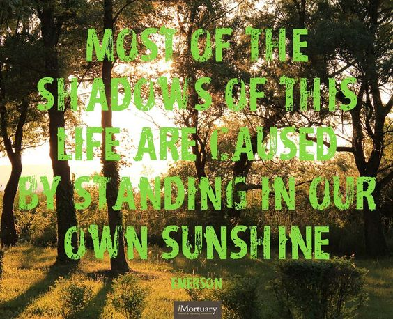 Most of the shadows of this life are caused by standing in our own sunshine - emerson