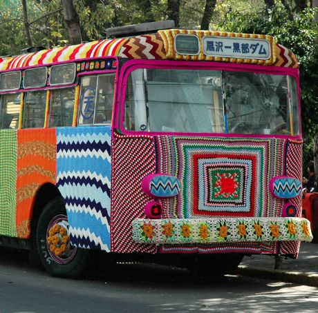 Top Five Extraordinary Yarn Bombs: Mexico City Bus by Magda Sayeg: