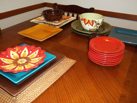 my Pier1 collection of different color & shape dishes that coordinate without being a matching set...<3 to mix & match them up on my own