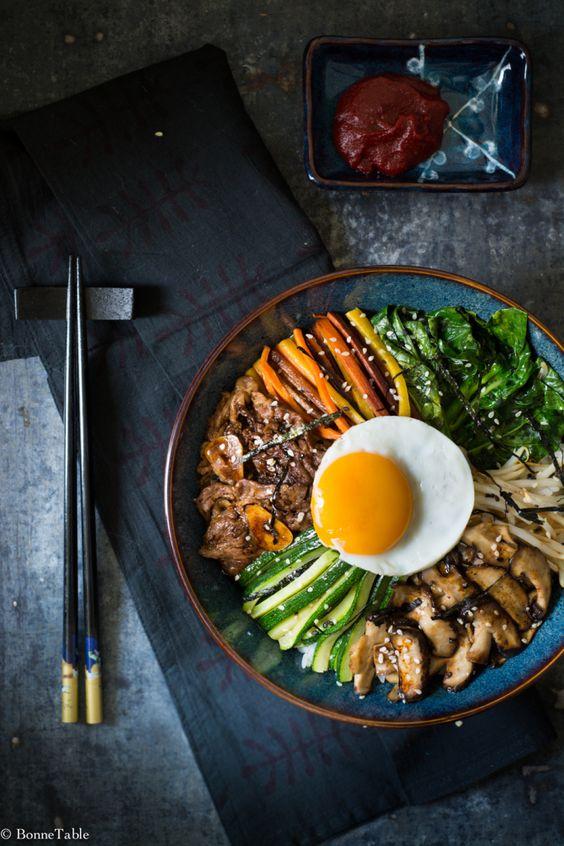 Bibimbap coréen #coreen #plat #bibimbap / à essayer avec du tofu mariné à la place du boeuf et de la sauce tamari?