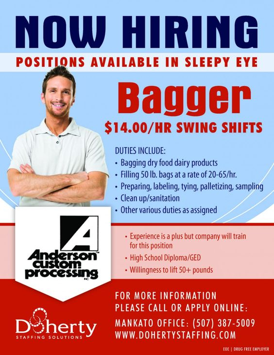 Now hiring for bagging jobs in Sleepy Eye, MN Swing shifts at - now hiring flyer template