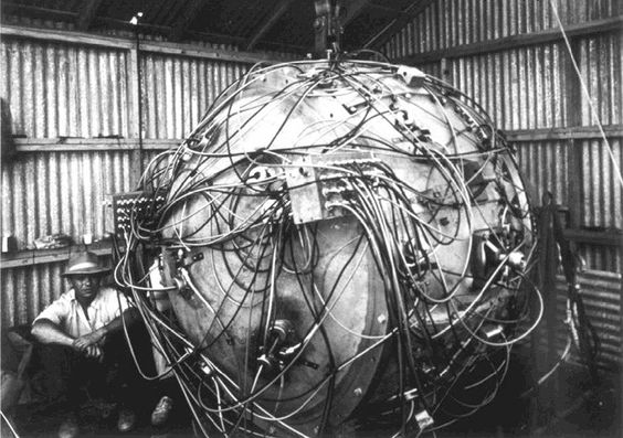 Exposed wiring of The Gadget, the nuclear device which exploded as part of Trinity, the first nuclear weapons test of an atomic bomb. At the time of this photo, the device was being prepared for its detonation, which took place on July 16, 1945. (U.S. Department of Defense)