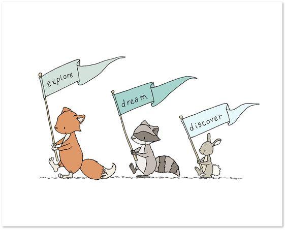 Explore Dream Discover - Woodland Animal March - Fox, Bunny, Raccoon