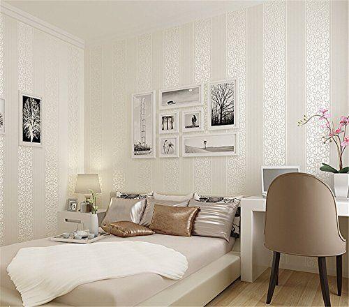 Ufengke NonTissé Rayures Verticales Épaissir D Flocage Bronzing - Decoration murale pour pinterest chambre
