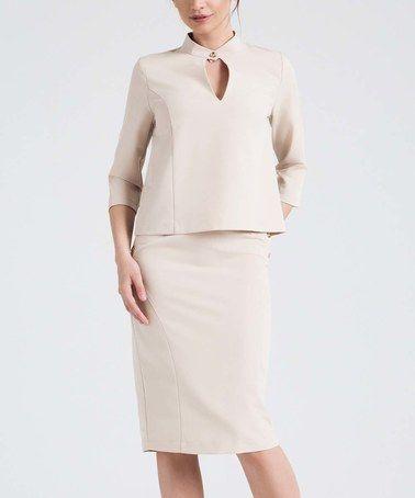 Look at this #zulilyfind! Beige Cutout Top & Pencil Skirt #zulilyfinds