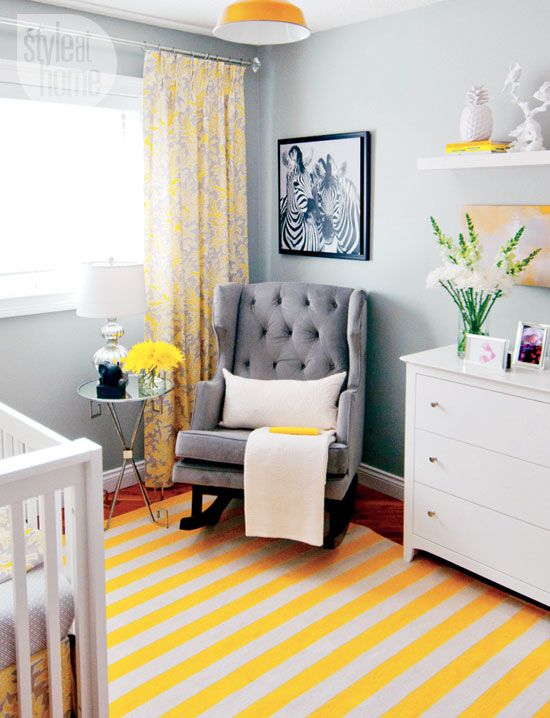 bedroom yellow gray nurseries rockers and yellow stripes. Black Bedroom Furniture Sets. Home Design Ideas