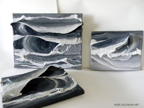 "Original Ocean Art by Noel Solomon - 3D Wave - Surf - Black & White Set of Waves - 8"" x 10"""