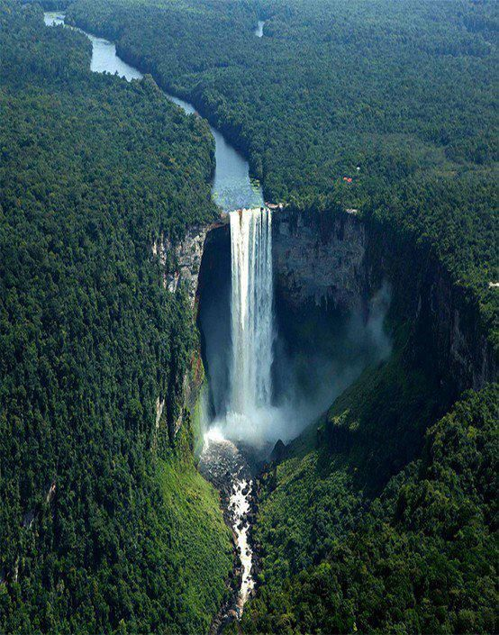 Kaieteur Falls, Guyana - one of the most powerful waterfalls on the planet. The falls occur where the Potaro River plunges 741 feet (226 meters) off the edge of the Mazaruni-Potaro Shield into a long, broad isolated gorge.