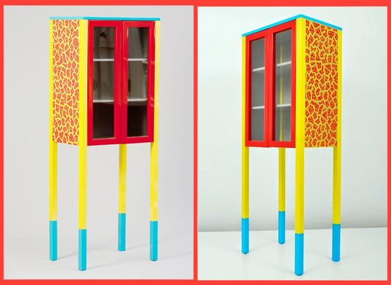 """""""D'Antibes"""" cabinet by George Sowden in lacquered wood, with silkscreen by Du Pasquier on sides. L.60 P.40, H.160 cm."""
