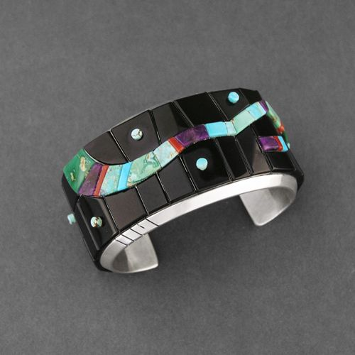 Cuff | Michael Dukepoo (Hopi, Yaqui).  Sterling Silver, Inlaid Natural Black Jade, Turquoise, Sugilite, Coral