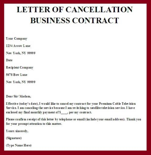 Contract Cancellation Letter Contract Template Letter Templates