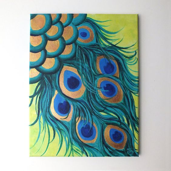 Uptown Art Calendar Hendersonville Tn : Peacock feathers canvas painting whimsical modern
