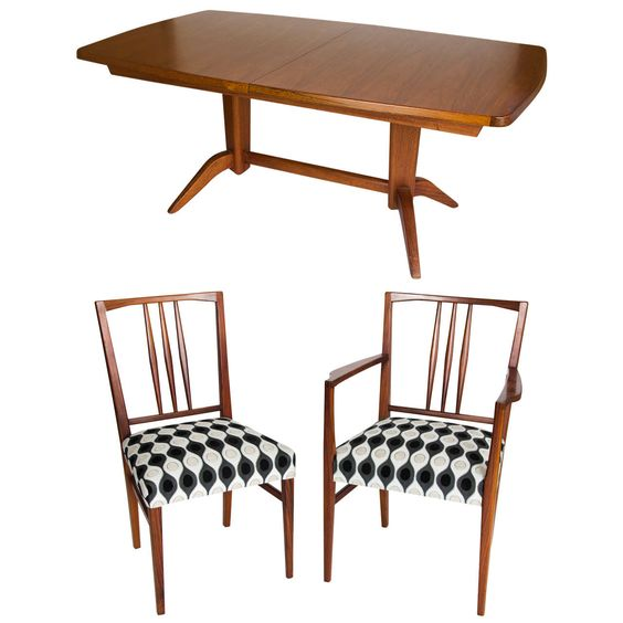 A very fine rosewood and mahogany dining table and chairs made by C. E. Grantham for Gordon Russell Limited Broardway Worcestershire in July 1968. 6 x chairs (2 x arm and 4 x sides) reupholstered in fabric from renowned Harlequin portfolio.  https://www.1stdibs.com/furniture/tables/dining-room-sets/gordon-russell-table-chairs/id-f_1351003/