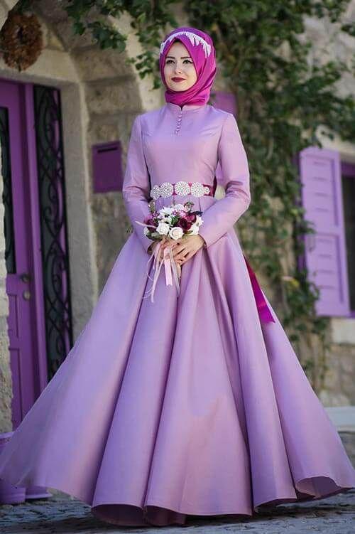 Lila Tesettur Kabarik Abiye Modelleri Elbise Giyim Victorian Elbiseler