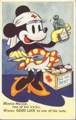 England, ca 1940: Minnie Mouse as a Voluntary Aid Detachment nurse.