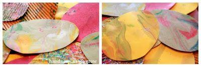 Marbled shaving cream art - Eggs for Easter Tree