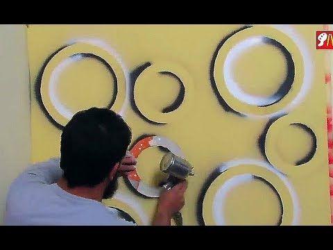بقطعه كرتون وزجاجه سبراى إصنع بنفسك في المنزل أجمل ديكور دوائر ثرى دى Youtube 3d Wall Painting Wall Painting Decor Wall Painting