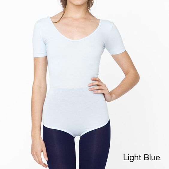American Apparel Womens Cotton Spandex Short Sleeve T shirt Leotard
