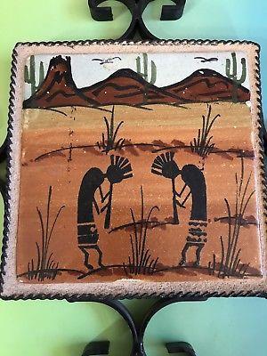 Ceramic Art Tile Trivet Kokopelli Handcrafted Wall Hanging Southwest Desert Kokopelli Art