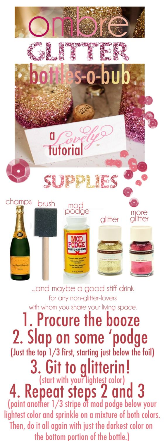 Tutorial:  Ombre glitter champagne bottles, great for a party or as a gift.