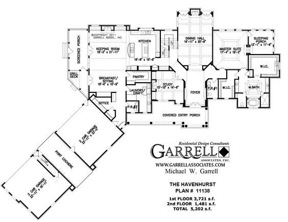 Love the Port Cochere between the garages.  Havenhurst  House Plan # 11138, 1st Floor Plan, Luxury House Plans, Estate Size House Plans