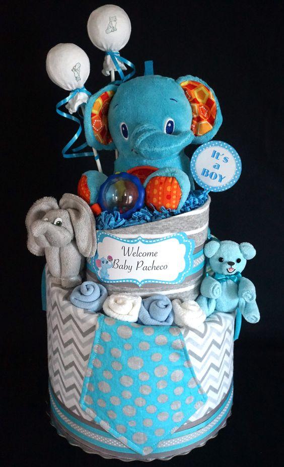 Boy's Diaper Cake www.facebook.com/DiaperCakesbyDiana: