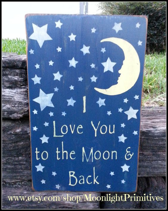 I Love You To The Moon And Back Nursery by MoonlightPrimitives