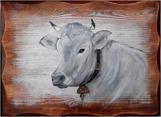 tableau peinture vache schwyz deco chalet d co et chalets. Black Bedroom Furniture Sets. Home Design Ideas