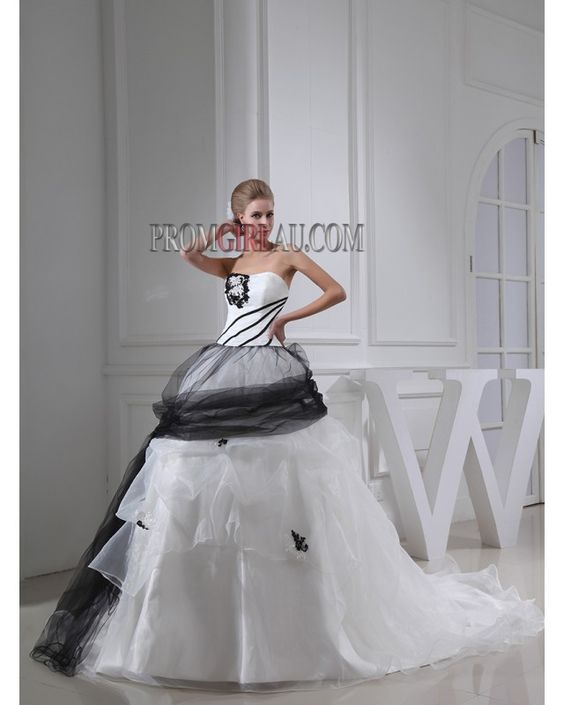 White And Black Strapless Chapel Train Military Ball Gown Quinceanera Formal Dresses PGAW1328 www.promgirlau.com