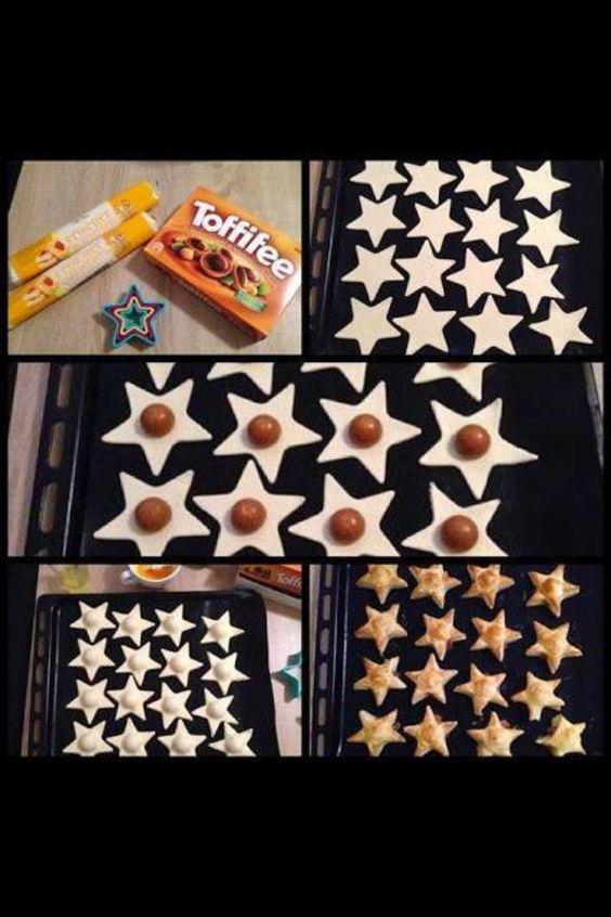 Toffifee Sterne   Aus dem Blätterteig Sterne ausstechen und die Hälfte auf einem mit Backpapier ausgelegtem Backblech verteilen. Je 1 Toffifee mit der Schokoseite nach unten drauflegen und mit einem 2. Stern belegen. Den Teig ggf. etwas ziehen und zusammenkleben, so dass der Toffifee nicht mehr zu sehen ist. Im vorgeheizten Backofen bei Umluft 180°C so lange backen, bis der Blätterteig goldgelb ist. Auskühlen lassen und fertig!