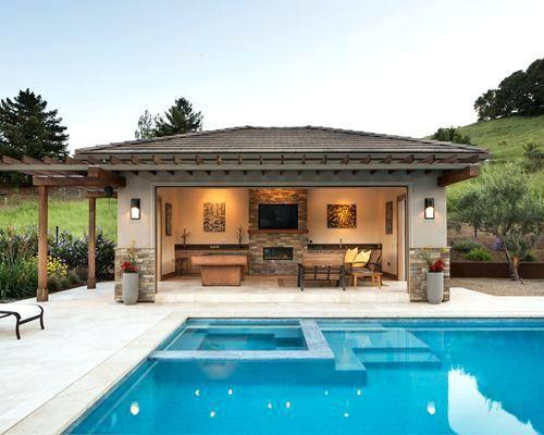Rustic Pool House Ideas Large Transitional Backyard Rectangular