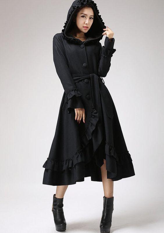 hooded coat Dress coat Black coat long Coat Wool coat Maxi ...