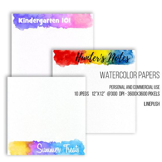 SALE! Watercolor papers. Watercolor headers, footers, borders, letterheads Digital papers Rainbow colors, pastel. Scrapbooking Stationery Watercolor papers. Watercolor headers footers by LinePush