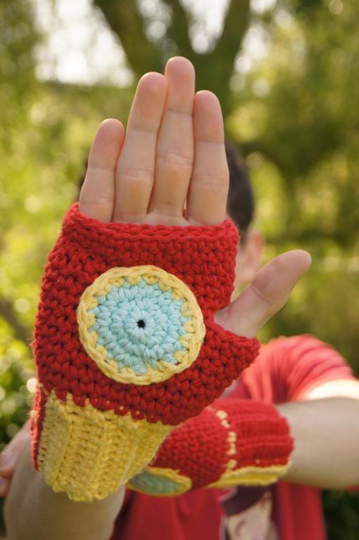 Crocheted Iron Man Fingerless Gloves