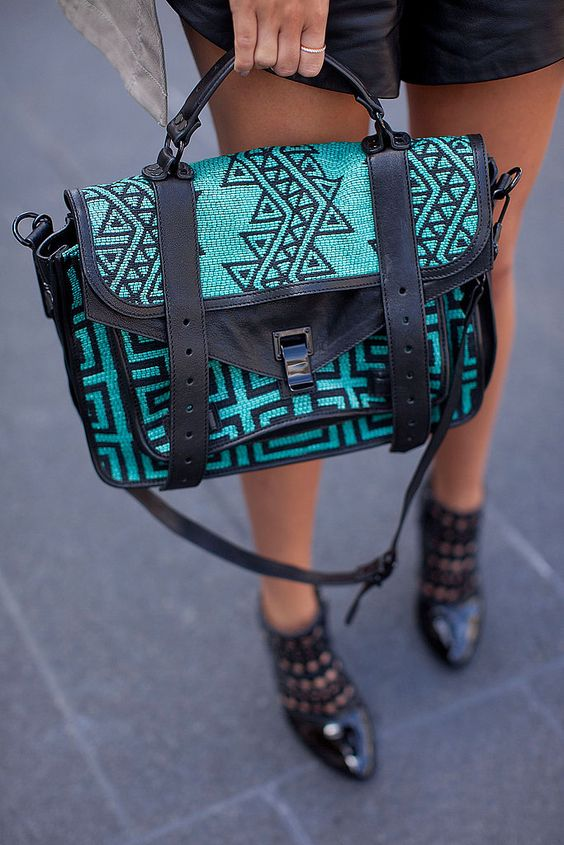 Nice bag...  Nice shoes!  Are they jelly??  Spring 2012 New York Fashion Week Street Style: Bags