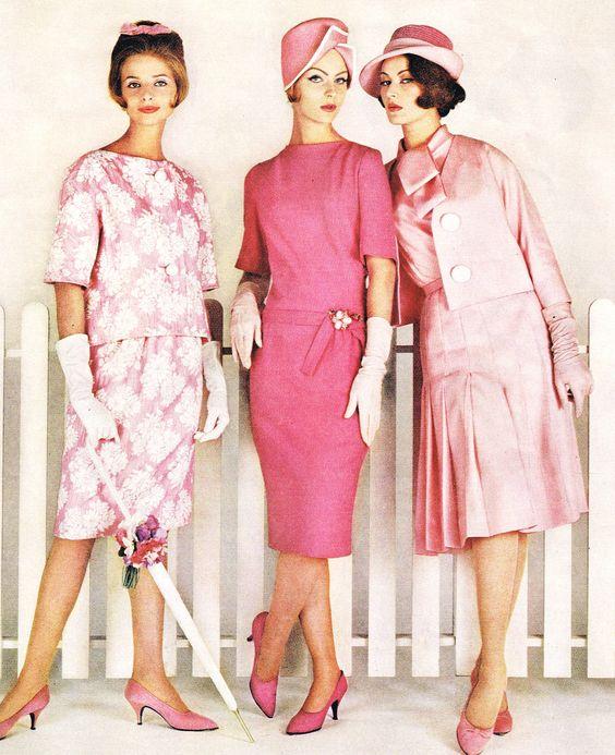 pink 60s dress sheath wiggle jacket 3/4 sleeves floral wool satin