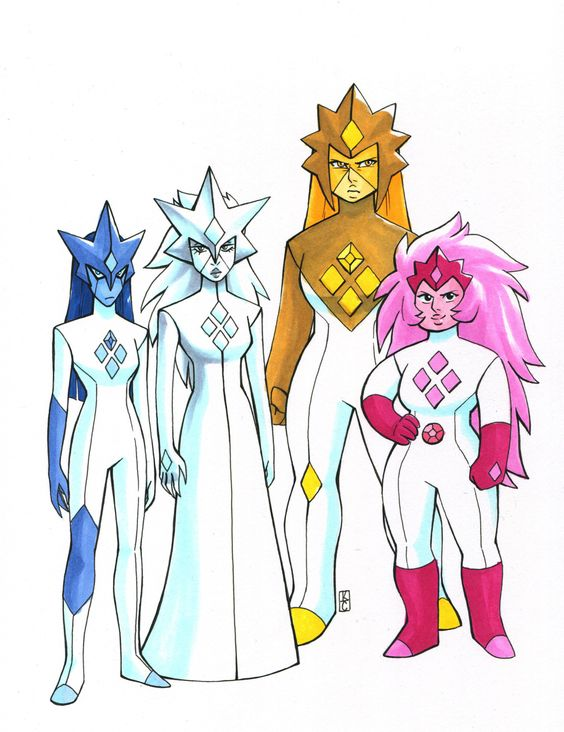 The DIamond Authority: Blue Diamond, White Diamond, Yellow Diamond and Pink Diamond aka Rose Quartz, before she rebelled against the Gem Homeworld. This is, IMO, the coolest piece of SU fanart/fanon produced so far. Kudos to the artist.