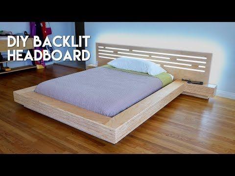 Diy Modern Plywood Platform Bed Part 2 Led Backlit Headboard Build Woodworking Youtube Diy Headboard Floating Headboard Platform Bed
