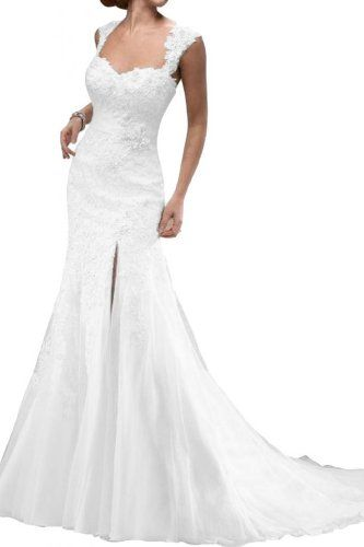 Gorgeous Bridal Lace Spaghetti Straps Long Wedding Dress White with Slit- US Size 12 Gorgeous Bridal http://www.amazon.com/dp/B00G67MKF4/ref=cm_sw_r_pi_dp_lj7Rtb1G5S7E907W