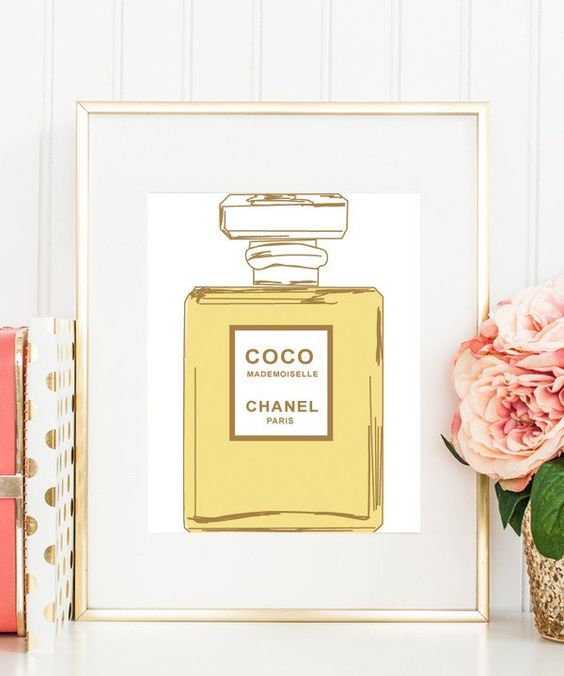 Coco Chanel Perfume Bottle Print in White Background  #print https://bymaria.com/
