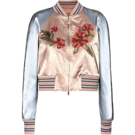 Valentino mytheresa.com Online Exclusive Embellished Satin Bomber... (442.535 RUB) ❤ liked on Polyvore featuring outerwear, jackets, tops, casacos, multicoloured, bomber jacket, pink satin jacket, multi colored jacket, flight jacket and satin bomber jacket: