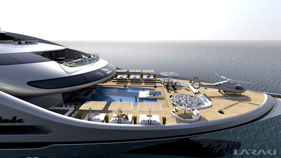 """Gigayacht concept """"Prelude"""". Fish pond and sushi bar on board complacent? At 163 meters long and nine decks to yacht designer Abdeslam Laraki from California has fully abated."""
